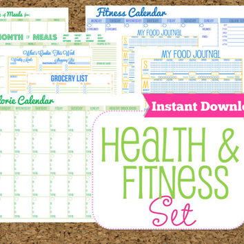 INSTANT DOWNLOAD Fitness and Health Printables Set-Workout Planner-8 Documents