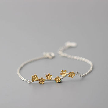 Gold Plum Branch Bracelet, Sterling Silver Plum Bracelet, Flower Bracelet, Silver charm Bracelet chain, Plum Flower Jewelry, Gift for her