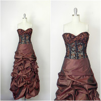 For Rental or Purchase Vintage Dolce Jovani Pageant Beaded Bronze Gown