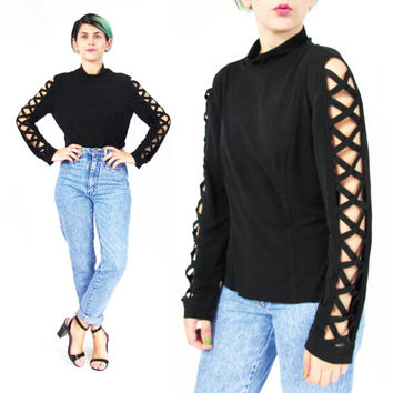 1990s Cut Out Sleeves Black Turtleneck Top Joseph Ribkoff Shirt Designer Slinky Stretchy Black Shirt Club Kid Gothic Mock Neck Top (M/L)