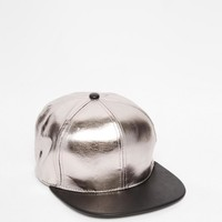 ASOS | ASOS Snap Back Cap In Silver And Black at ASOS