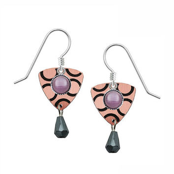 Lemon Tree Earrings with an Etched Brushed Copper Triangle and Cab