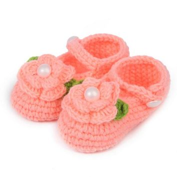 Cute Crochet Casual Baby Handmade Knit Booties Infant Rose Woolen Shoes