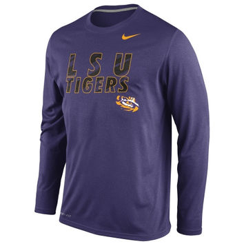 LSU Tigers Nike Legend Long Sleeve Performance T-Shirt – Purple