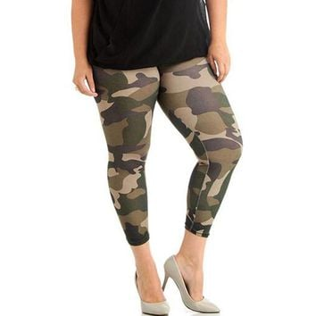 Plus size womens leggings sweatpants fitted camo camouflage green