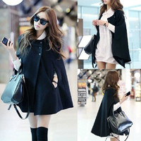 Women Cape Black Batwing Blends Fashion Round Neck New Korean Style Button Casual Cloak Coat two Size plus size = 1946441092