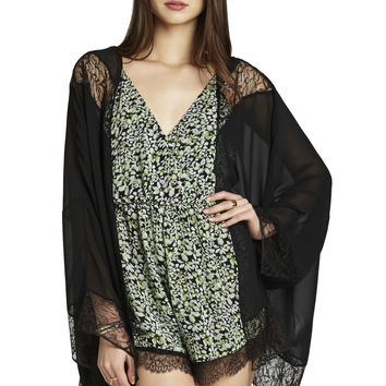 BCBGeneration Lace-Detailed Kimono Trim Romper