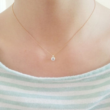 Solitaire Necklace - Cubic Zirconia Necklace, CZ Diamond Solitaire, Gold Bezel, Dainty Gold Necklace, Small Circle Pendant Necklace