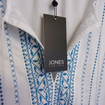 Jones New York peasant babydoll white blue blouse shirt top L XL NEW $79.50 A105