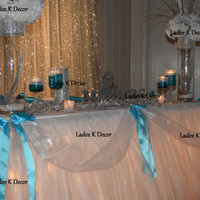 14' Table Tulle Skirt with Ribbon wedding sweet 16 quinceanera Table decoration
