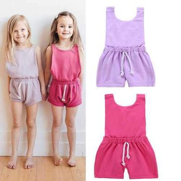 Solid Color Girls Jumpsuits For 1Y-7Y