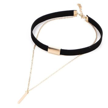 SHUANGR 2017 New Black Velvet Choker Necklace Gold Chain Bar Chokers Chocker Necklace For Women collares mujer