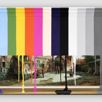 Garage Sale Painting of Peasants with Color Bars Art Print by Chad Wys