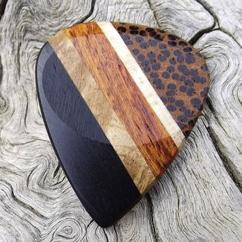 Handmade Multi-Wood Premium Guitar Pick - Actual Pick Shown - Artisan Guitar Pick - 5 Different Woods