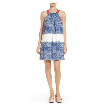 Felicity and Coco Navy-White-Pink Halter Neck Shift Dress