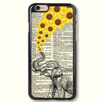 Elephant with Sunflowers Protective Phone Case For iPhone 7 7 Plus case, 70805