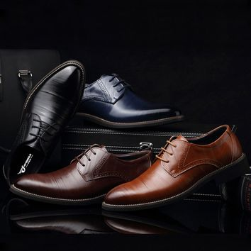 Men Casual Leather Business Pointed Toe Shoes Fashion Fashion Wedding Lace Up Dress Shoes Plus Size 38-48
