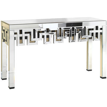 "Modern 51.75""x15.75""x35.5"" Mirrored Accent Table, Silver"