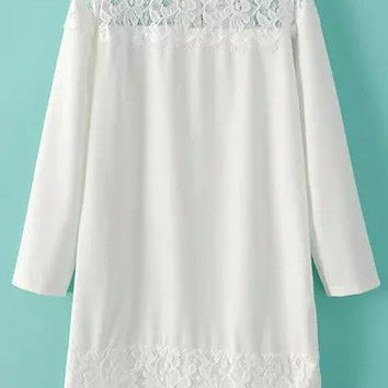 White Floral Crochet Lace Long Sleeve Mini Shift Dress