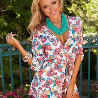 Because of You Floral Romper White