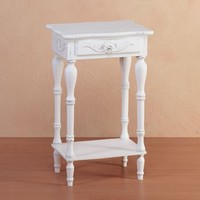 Carved Wood Shabby Top White Side Night End Table Chic