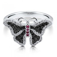 Multi-Colored Cubic Zirconia CZ Sterling Silver Butterfly Fashion Ring #r591