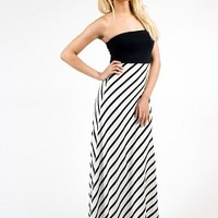 6N2229-3-4 Striped Strapless Maxi Dress Apparel Dresses BLACK-WHITE Bare Feet Shoes