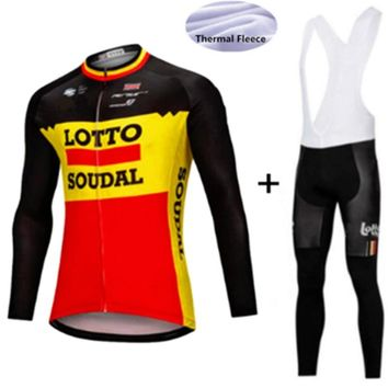 lotto Cycling Jerseys Cycling Set Winter Thermal Fleece Long Sleeves Racing MTB Suit Maillot Bike Clothing Ropa Ciclismo