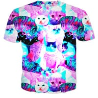 Trippy and colorful cat t-shirt