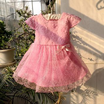 new 2015 baby girl summer dress baby girl flower dress newborn toddler one year old birthday dress baby little girl pink dress