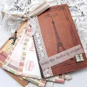 Travel Journal - Vintage Travel Journal - French Vintage - Cottage Chic Journal - Small Junk Journal - Blank Journal - Small Book - Explore