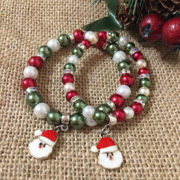 Santa Stretch Bracelet Pair Christmas Colors Beaded Bracelets Santa Stretch Bracelets Santa Christmas Matching Bracelets Gift Set (ST81)