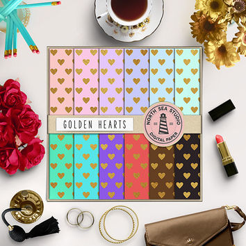 Gold Digital Paper Gold Heart Pastel Colors Heart Pattern Gold Backgrounds Love Paper Valentine's Day Hearts Digital Paper Digital Download