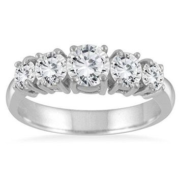 AGS Certified 1 1/4 Carat TW 5 Stone White Diamond Ring in 14K White Gold (K-L Color, I2-I3 Clarity)