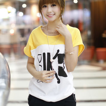 Yellow Back-to-Back Graphic Print T-Shirt