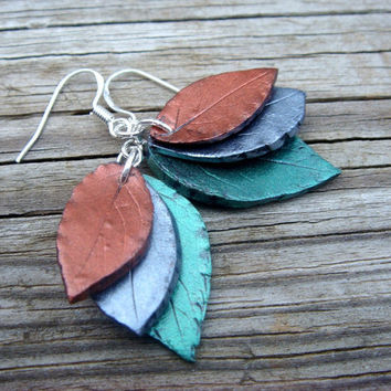 Green and Copper Leaf Earrings  Polymer Clay and by JustClayin