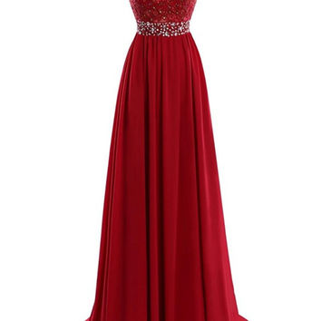 New Wine Red V Neck Long Prom Dress Elegant A Line Lace Appliques Chiffon Formal Party Evening Gowns Dresses Vestido De Festa