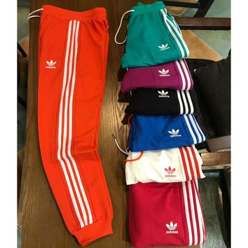 ADIDAS Clover 2018 Spring Summer Couples Men and women Wild Sweatpants F-XMCP-YC orange