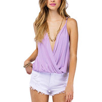 Deep V Cami Top In Light Purple
