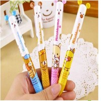 Cute Creative Plastic Double Colors Ballpoint Pen Kawaii Cartoon Rilakkuma Ball Pen Korean Stationery