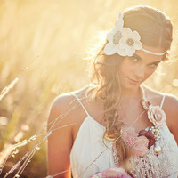 Bridal Headband - Boho Halo - Flower Crown - ONLY ONE MADE with vintage finds from India