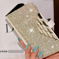 Sparkling rhinestones phone wallet for Nokia lumia 520 521 625 720 820 920 1020 1320 1520 case  iphone 4s 5s 5c samsung galaxy s2 s3 s4 s5