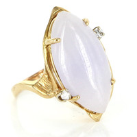 Vintage 14 Karat Yellow Gold Diamond Lavender Jade Cocktail Ring Fine Jewelry