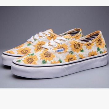 """Kalete """"Vans"""" Casual Shoes yellow sunflower low tops Shoes"""