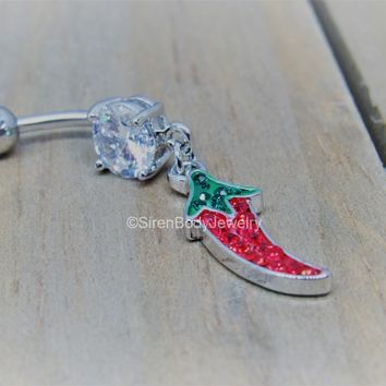 Chili pepper belly button piercing ring dangle navel barbell 14g
