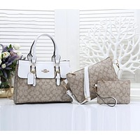 Coach Women Leather Handbag Shoulder Bag Crossbody Purse Wallet Set Three Piece White