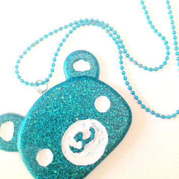 Kawaii Bear Necklace//Glitter Blue//Resin Pendant//Cute Jewelry//Gift Ideas For Her//Cyber Monday//Stocking Stuffers