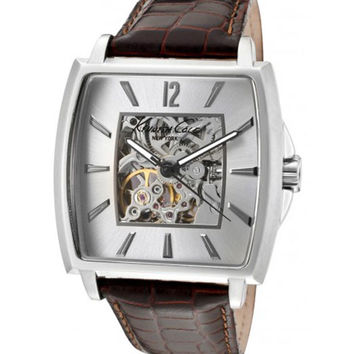 Kenneth Cole KC1571 Men's New York White Skeleton Dial Leather Strap Automatic Watch
