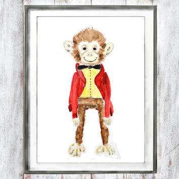 Nursery wall arts red Nursery Decor Watercolor Monkey kid gift  children room  watercolor painting arts wall decor home decor digital print
