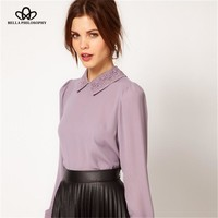 spring new retro vintage beaded embroidery collar angle hem violet lavender purple pink women chiffon blouse shirt top